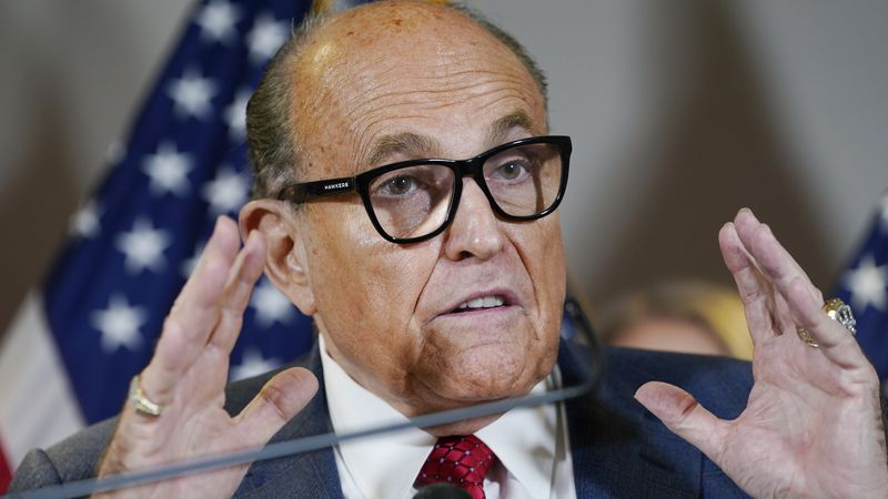 In this Nov. 19, 2020, file photo, former New York Mayor Rudy Giuliani speaks during a news...