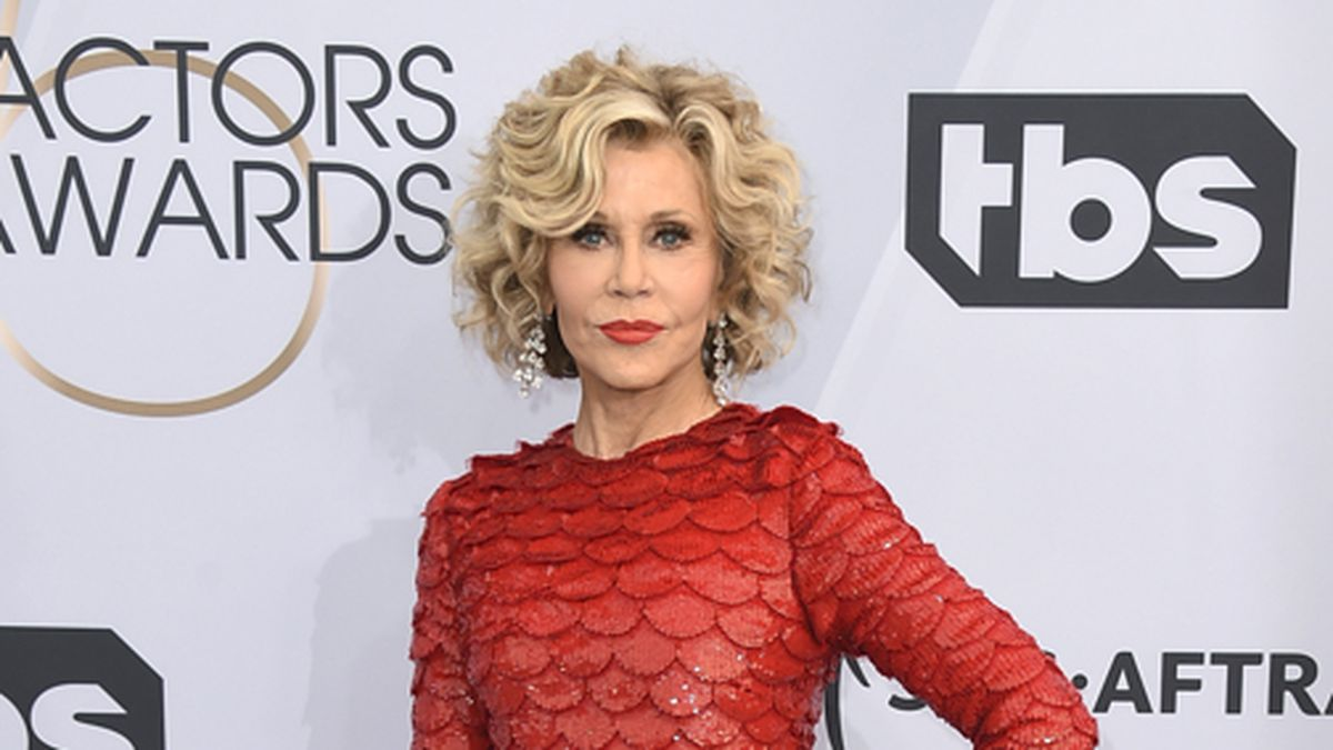 This Jan. 27, 2019 file photo shows Jane Fonda at the 25th annual Screen Actors Guild Awards in Los Angeles. Fonda was arrested at the U.S. Capitol on Friday, Oct. 11, while peacefully protesting climate change. The actress and activist was handcuffed on the east side steps and escorted into a police vehicle. Video of the arrest circulated online. (Photo by Jordan Strauss/Invision/AP, File)
