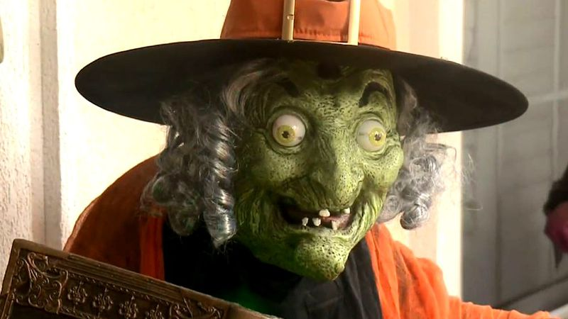 This witch is one of the decorations at Angela Rush's house.