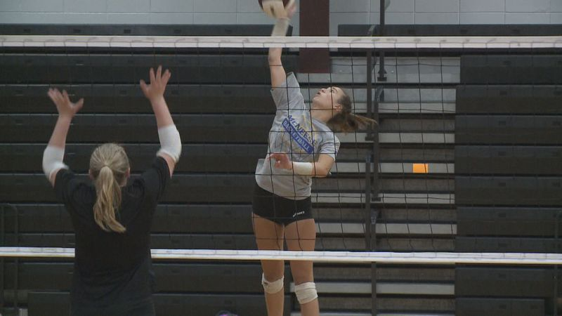 Lakeside senior Mikayla Klein goes up for a hit during the Panther's first practice of the...