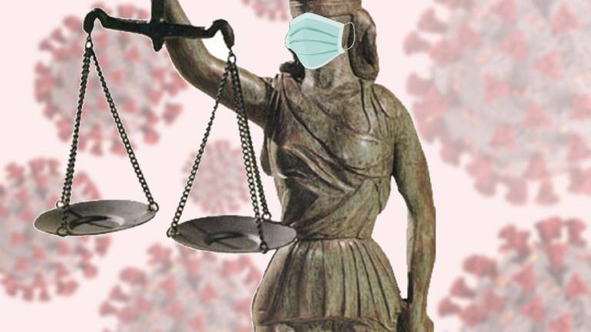 Scales of justice with mask