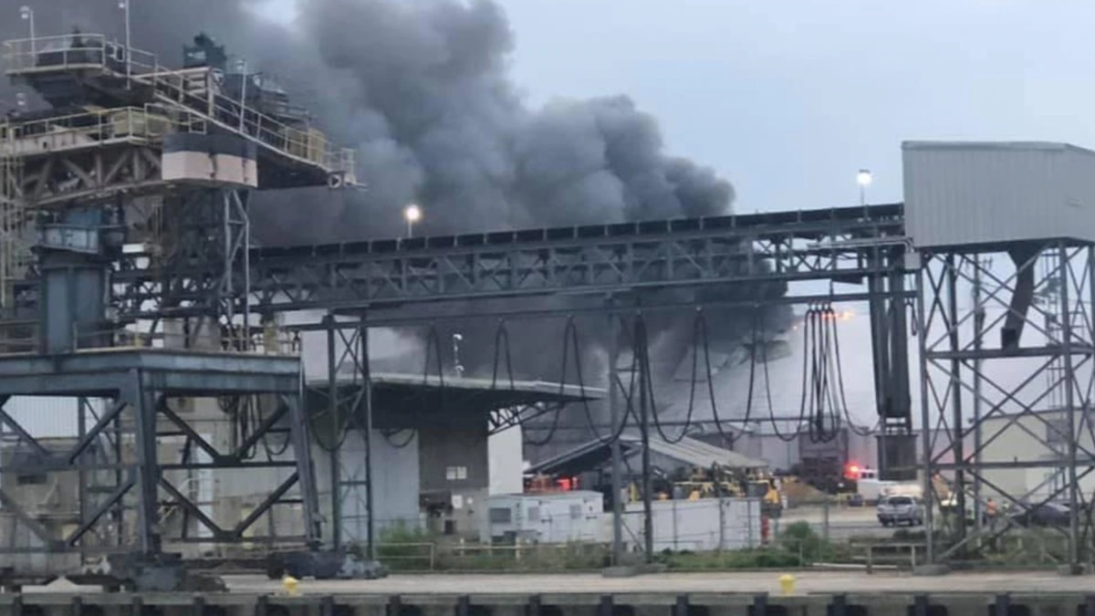 An explosion caused a fire at a warehouse at the Port of Brunswick in Georgia.