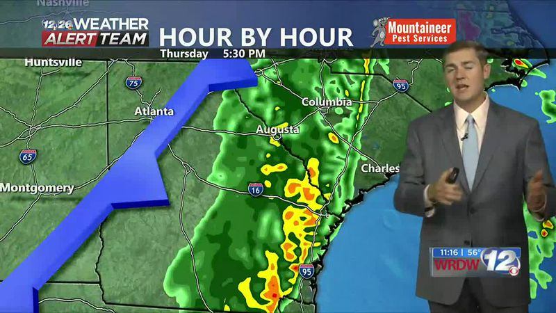A strong cold front will move through the CSRA Thursday bringing rain, wind, and big...