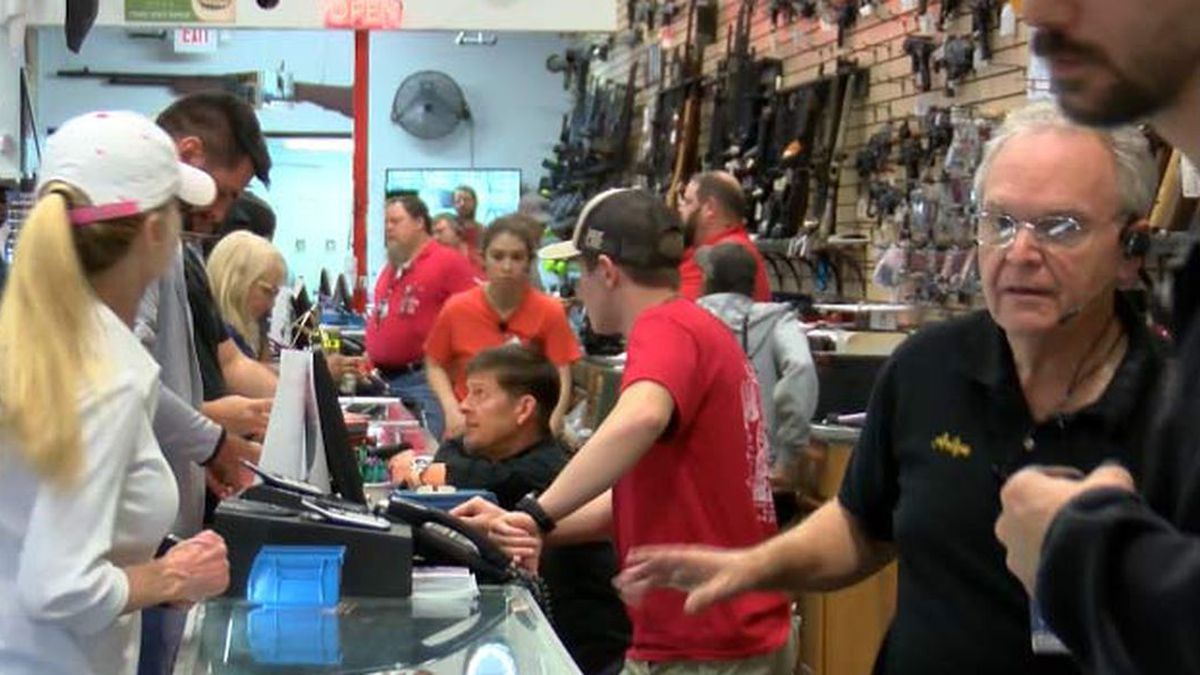 Gun shops say they are working to keep guns and ammunition on the shelves as sales soar. (Source: Live 5)