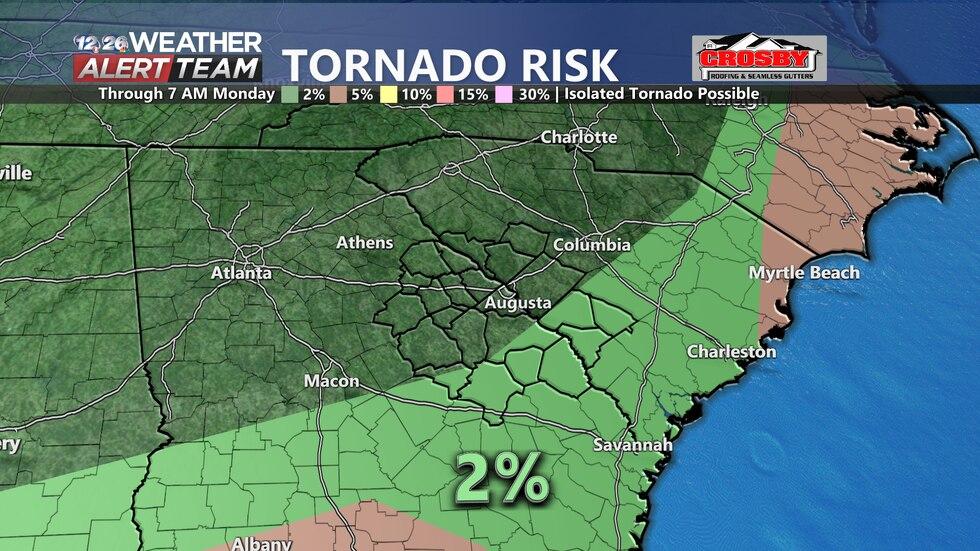 Low tornado threat through early Monday morning.