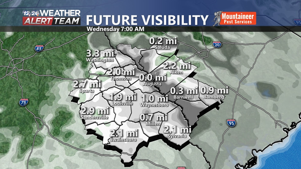 Areas that are low lying or near a body of water have the most likely chance of seeing fog...