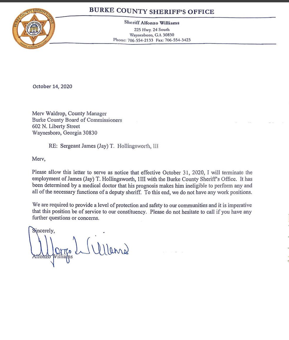 Letter terminating the employment of James Hollingsworth.