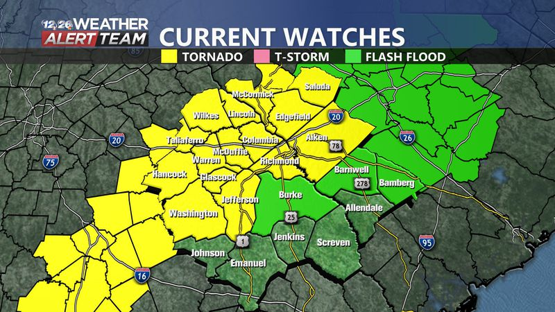 A tornado watch has been issued for a large portion of the viewing area until 8 p.m.