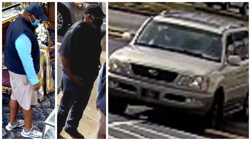 Surveillance images of the suspected jewelry thieves and their vehicle.