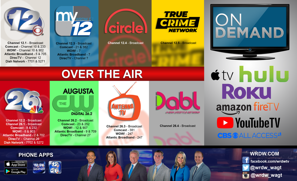 You can find WRDW/WAGT all over the air in the CSRA.