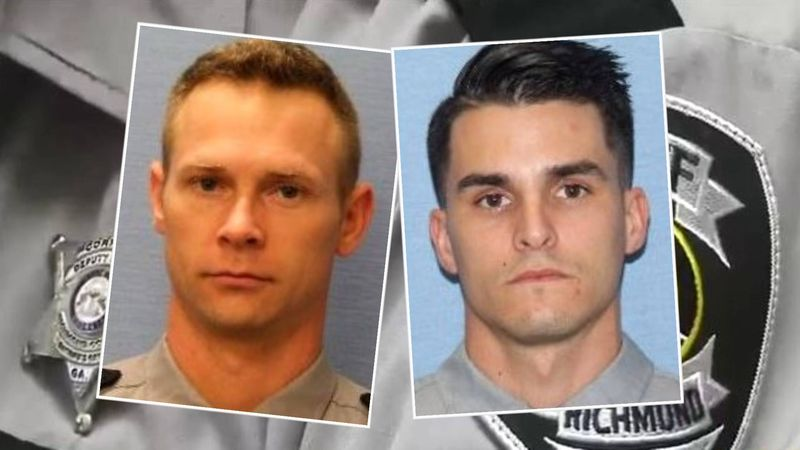 Deputy Brandon Keathley (left) is indicted on charges that he hit Deputy Nicholas Nunes (right)...
