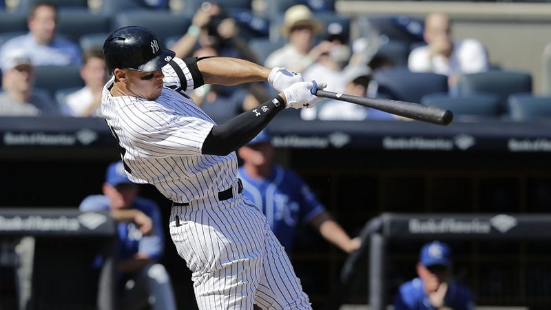 New York Yankees' Aaron Judge looks after a two-run homer during the third inning of a baseball...
