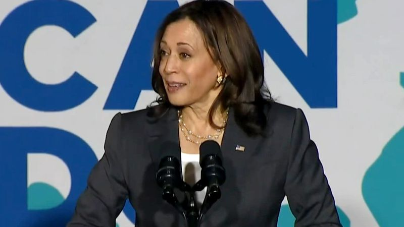 Vice President Kamala Harris delivers a speech in Atlanta promoting COVID-19 vaccinations on...