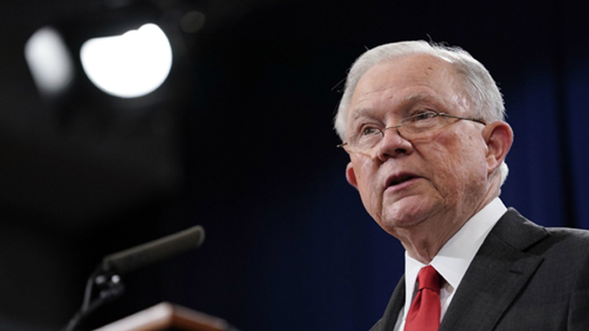 Attorney General Jeff Sessions speaks during a news conference to announce a criminal law...