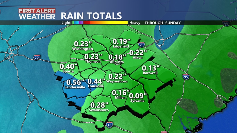 Most locations look to accumulate less than half an inch of rainfall through tomorrow.