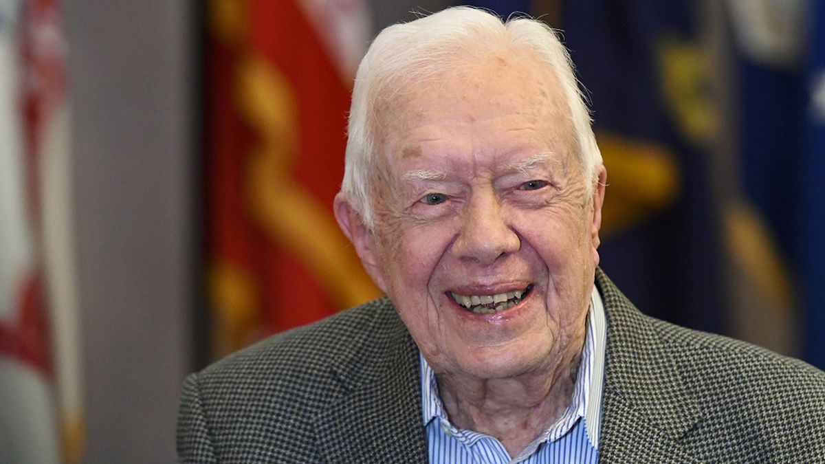 FILE - In this April 11, 2018 file photo, former President Jimmy Carter, 93, sits for an...