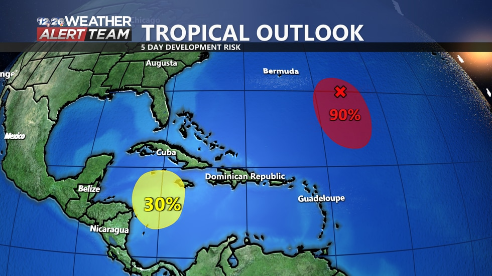 We are currently monitoring two areas of potential tropical development in the Atlantic Basin.