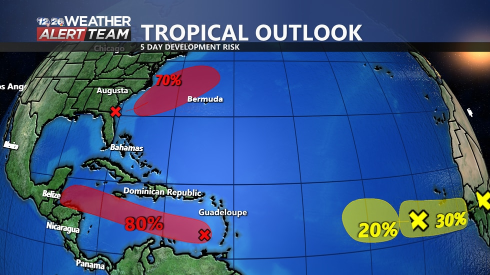 A tropical depression is likely to form off the South American Coast by mid week as well as off...