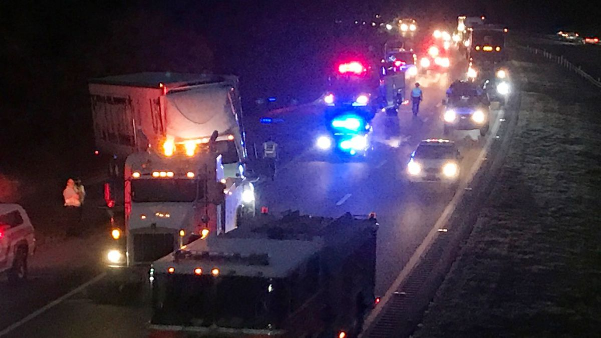 This was the scene before dawn on Oct. 27, 2020, after a n 18-wheeler hit a guardrail on...
