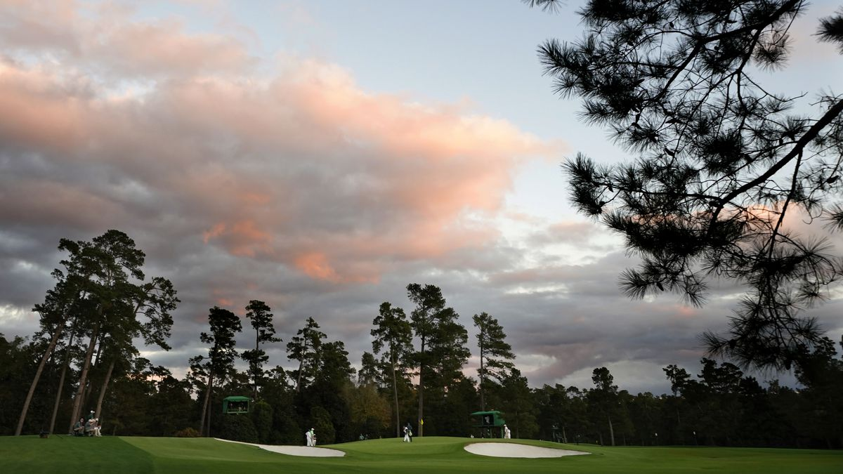 A view of the green on the No. 17 hole during Round 1 of the Masters at Augusta National Golf...