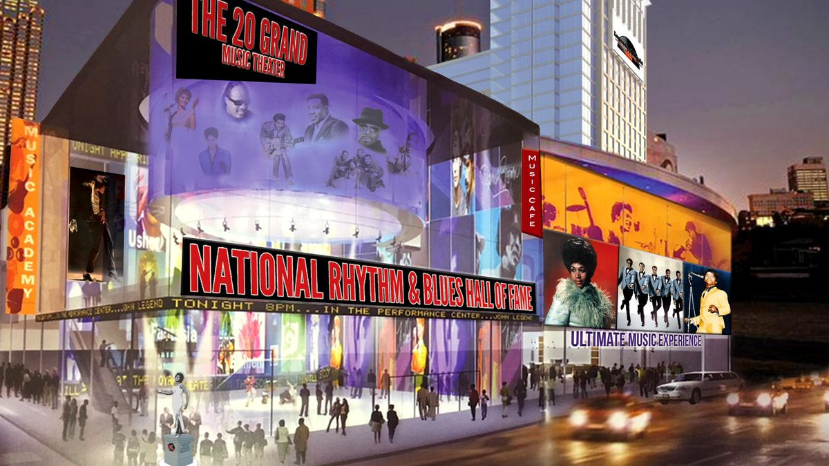 This rendering of a proposed museum was provided by the National Rhythm & Blues Hall of Fame Foundation.