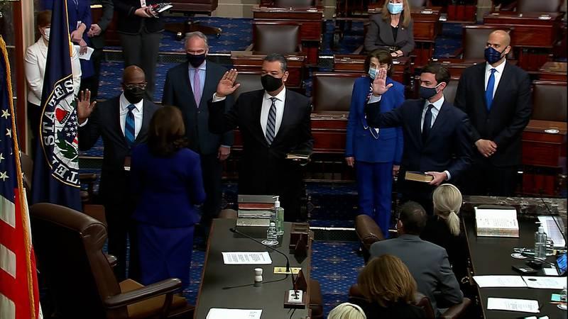Senators Jon Ossoff and Raphael Warnock are sworn into office by Vice President Kamala Harris...