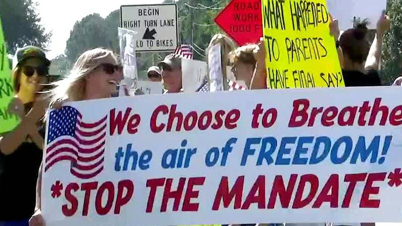 Some parents in Columbia County protested the new mask mandate.