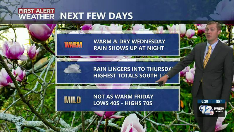 Rain chances are low during the day Wednesday, but a front will move through Wednesday night...